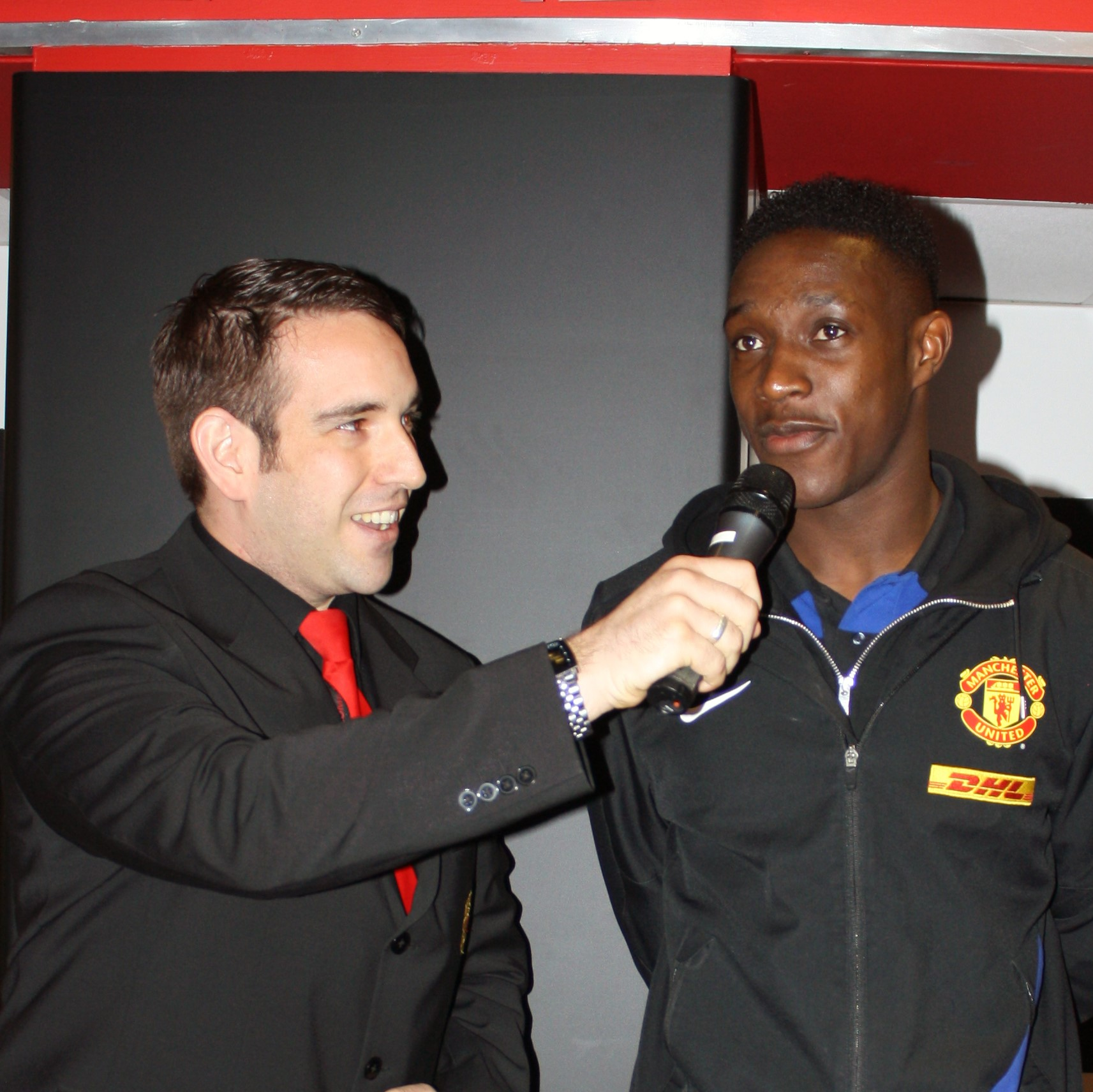 Compere John Norcott interviewing Danny Welbeck